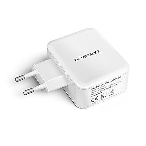 RAVPower 24W Chargeur USB Secteur Mural Universel 2 Ports USB 5V 4.8A avec Technologie iSmart Adapteur USB Mural Secteur Universel Chargeur Portable de Voyage avec Indicateur LED - Blanc