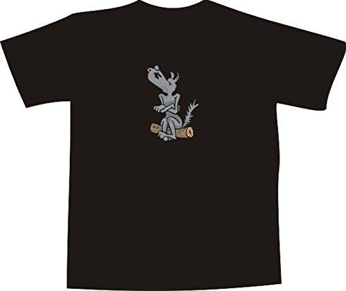T-Shirt E502 Schönes T-Shirt mit farbigem Brustaufdruck Farbe nach Wahl XXL - Logo / Grafik - Comic Design - Wolf auf Stamm (Wolf T-shir)