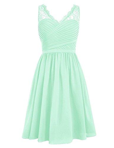 HUINI V-Ausschnitt Chiffon Brautjungfernkleider Kurz Ballkleid Kniel?nge Abendkleid Spitze Mint (Kleid Size Plus Mint)