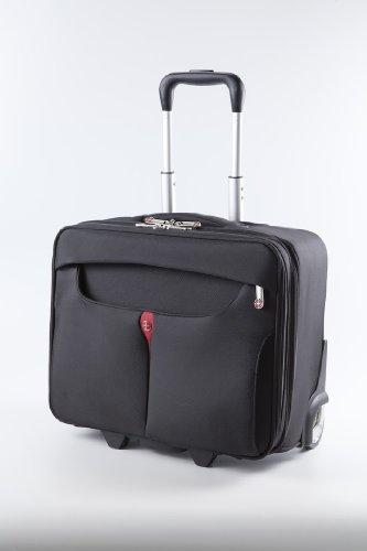 """Kross Precision 17.3"""" Business Roller """"Classic"""" – lightweight Roll-Koffer für Laptops / Notebooks / Netbooks – Schwarz, rot"""