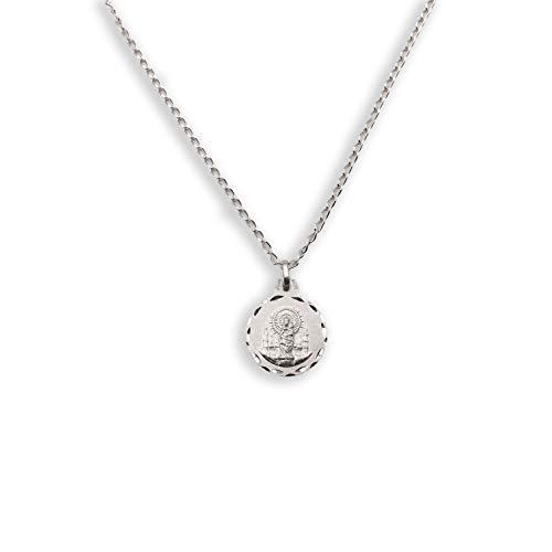 Medalla Religiosa - Virgen del Pilar 17 mm con Cadena Bilbao 40 cm. Plata de Ley 925 milésimas
