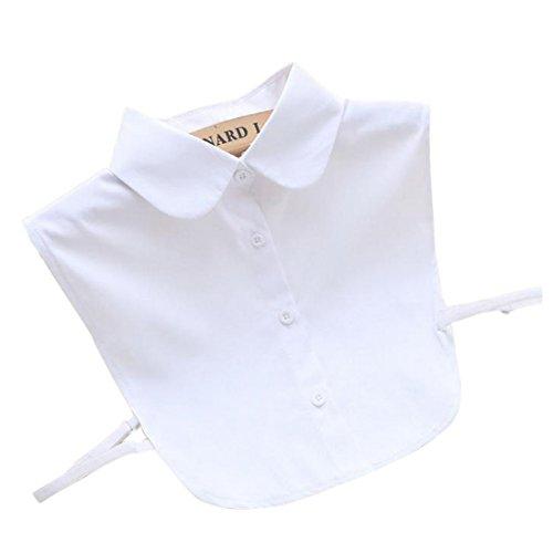 Vertvie Damen Abnehmbare Kragen Krawatte Hälfte Shirt Bluse (Weiß, One Size)
