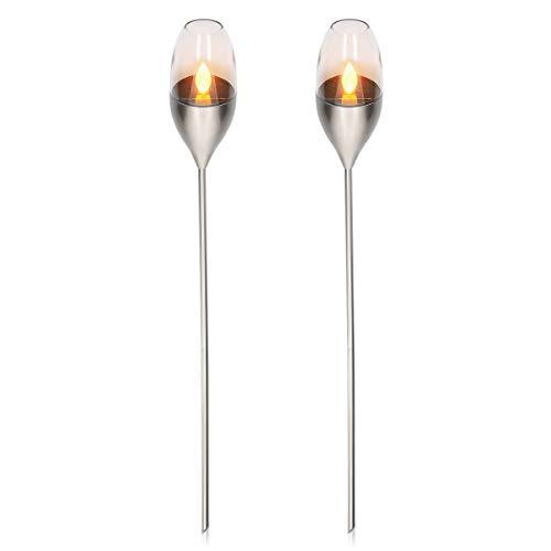 Navaris 2x LED Solar Edelstahl Gartenfackel - 8,5 x 112cm - Garten Fackel Solarleuchten Set - Außen Kerzenschein-Effekt Solarfackel Metallic Silber