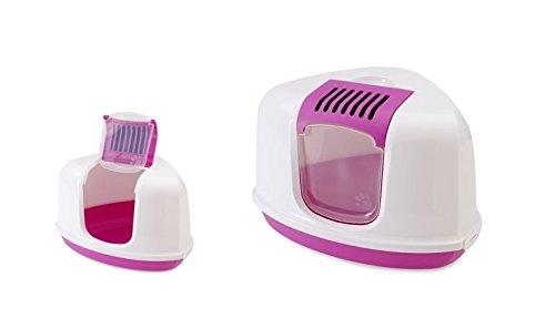 Toilette accessoriata Savic Nestor Corner - Lettiera angolare per gatti con apertura superiore, in plastica, completa di accessori (Rosa)