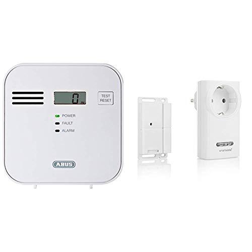 ABUS Kohlenmonoxid-Warnmelder CO-Melder | LCD-Display inkl. CO-Konzentration & Smartwares Funk-Abluftsteuerung mit Fenster-Magnetkontakt und Funksteckdose für Dunstabzugshaube