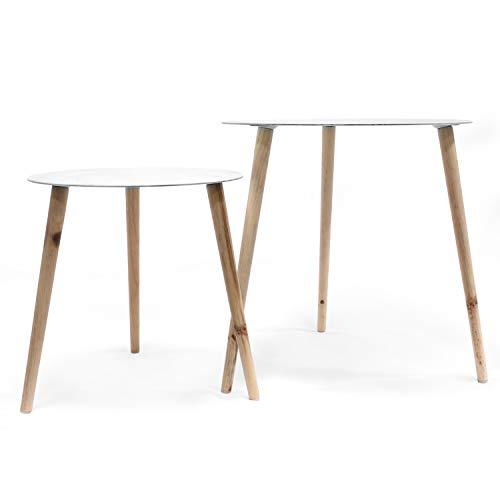 Jonas - Lot de 2 Tables Rondes Scandinaves -(1 Petite + 1 Grande) Tables Basses en Verre Trempé Effet Marbre à 3 Pieds (Blanche)