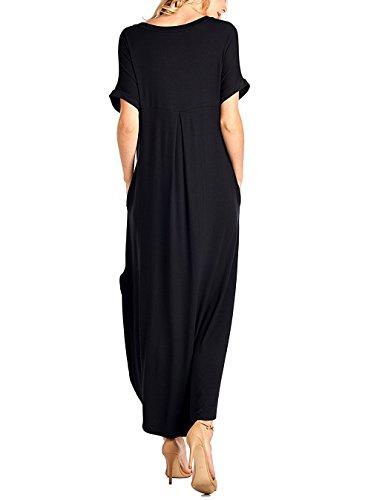 Yidarton Damen Sommerkleid Casual V-Ausschnitt Kurzarm Split Lange Maxikleid Strandkleid