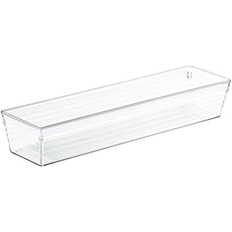 InterDesign–Organizador de sierra cajón de cocina para cubiertos, espátulas, Gadgets, de plástico, transparente, 7,5cm x 30,5x 5cm,