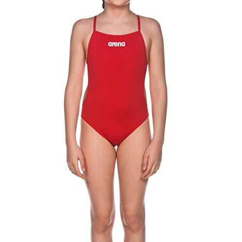 arena Mädchen Trainings Badeanzug Solid Lighttech (Schnelltrocknend, UV-Schutz UPF 50+, Chlorresistent), rot (Red-White), 164