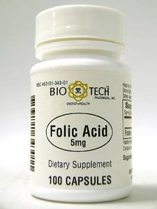 Folic Acid, Bio-Tech 5mg, 100 capsules, tiny soft and easy to swallow Test