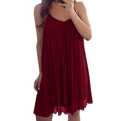 BHYDRY Women Sexy Sleeveless Spaghetti Strap Chiffon Vest Casual Loose Mini Dress(Small,Rot