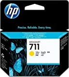 1x Original Patrone HP 711 CZ132A Yellow für HP Designjet T 520 24 Inch + 100 Blatt 10x15 cm Ti-Sa Fotocards - Inhalt: ca. 29ml