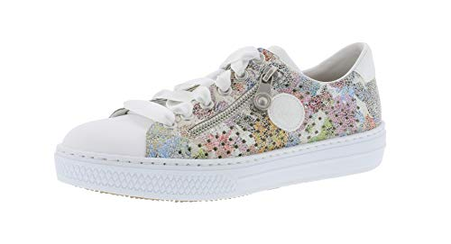 Rosa Multi Leder Schuhe (Rieker L59G7 Damen Low-Top Sneaker,Halbschuh,Sportschuh,Schnürschuh,atmungsaktiv,weiss/ice-multi/81,37 EU / 4 UK)