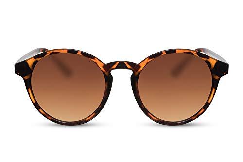Cheapass Sonnenbrille Rund-e Braun-e Designer-Briller UV-400 Leopard-Print Plastik Damen Herren