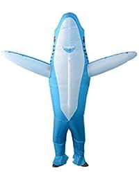 Disfraz de Tiburon Adulto Traje de Bano Inflable Azul Tiburon Animal para Adultos 1.5-1.9