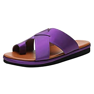 Innerternet Women Comfy Platform Sandals,Summer Casual Travel Sandals Ladies Fashion Beach Slippers Open Toe Rome Sandals (39, Purple)   2
