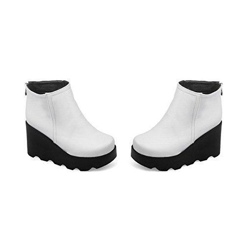VogueZone009 Damen Hoher Absatz Pu Leder Rein Niedrig-Spitze Stiefel mit Metallisch Weiß