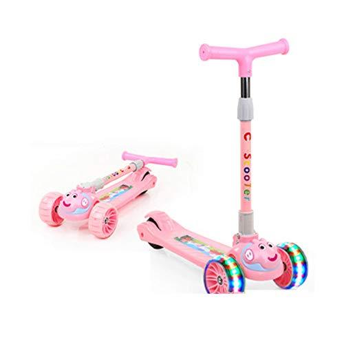 Roller Kinder 2-7-jährige EIN-Knopf-Klapproller Spielzeug-Skid-Flash-Roller Kinderroller, einbeiniger Kinderroller-Pink