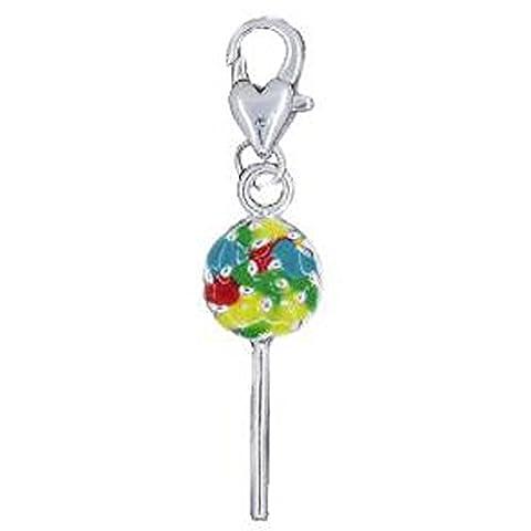 Sexy paillettes Femme Charms Rainbow Lollipop Clip sur le Pendentif pour bijoux W/homard fermoir