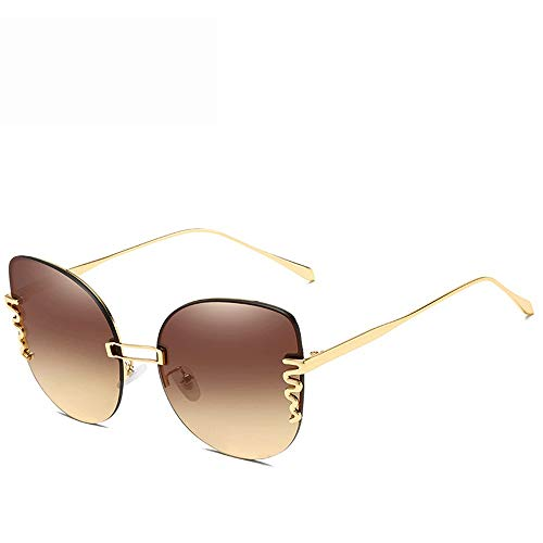 Yiph-Sunglass Sonnenbrillen Mode Sonnenbrillen Metallrahmendesign Herren- und Damenschuhe 100% UV-Schutz (Farbe : Rot, Größe : Casual Size)