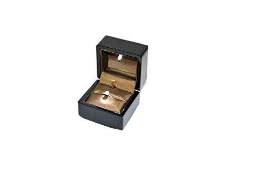 Trousse pour bague en bois laqué noir brillant avec LED 75 x 76 H60 mm lck1