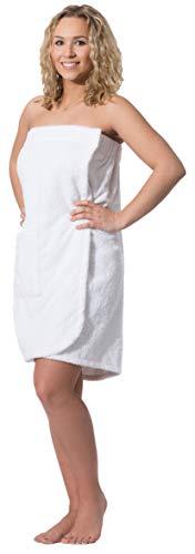 ZOLLNER Toalla Sauna para Mujer, Blanca, algodón, S/M, Otras Tallas y Colores