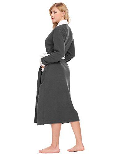 Pagacat Damen Bademantel Lang Winter Warm Patchwork Fleece Roben Morgenmantel mit Tasche und Gürtel Schwarz