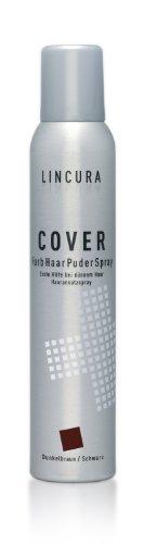 Lincura Haarverdichtungsspray - Cover Spray für optische Haarverdichtung bei Haarausfall dunkelbraun/schwarz