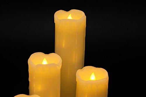 Eldnacele Juego de 6 velas sin goteo con temporizador, reloj de encendido y apagado Incluye batería de cera real, color marfil y parpadeo de llama ámbar amarilla para bodas y decoraciones navideñas