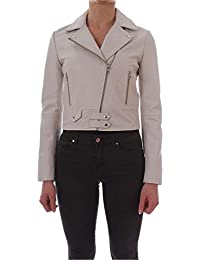 7471c2c452 Pinko Women's 1G13Y8Y589Z10 White Leather Outerwear Jacket