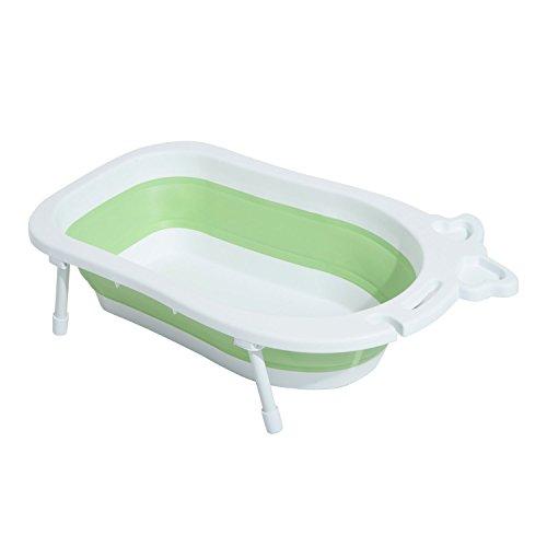 HOMCOM Bañera para Bebé y Niño para Baño Infantil Plegable Portátil y Segura Certificado EN71-1-2-3 Material PP+TPE Color Blanco y Verde 89x53.5x38cm