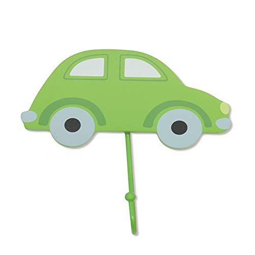 Cmxdz Mignon voiture crochet en bois créatif décoration porte à la maison derrière le mur pendaison chambre manteau des enfants petit crochet crochet vêtements crochet (Color : Green)