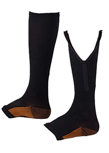 T.boys's Socken Unisex Kompressionsstrümpfe Compression Sport Plantar Fasciitis Fußbandage Mittelfuß, Socks Reißverschluss Stretch Bein Unterstützung Open Toe graduierte 2Paar Stützstrümpfe -