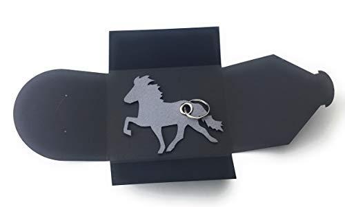 Schlüsselanhänger aus Filz - Island-Pferd/Reiter - grau/hell-grau - als Geschenk, Glücksbringer mit Öse und Schlüsselring - Made-in-Germany -