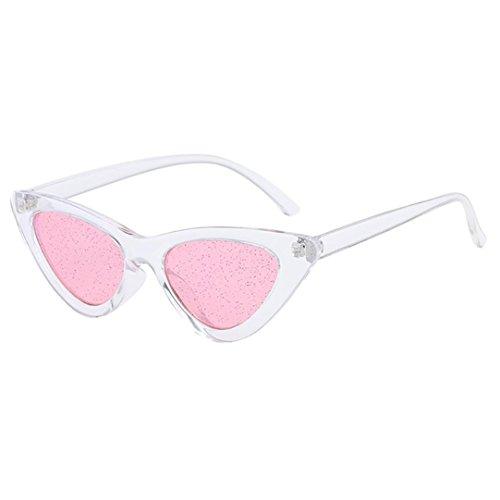 Dragon868 Damen Sonnenbrille Cateye Vintage Pailletten Transparent Retro Brillen (E)