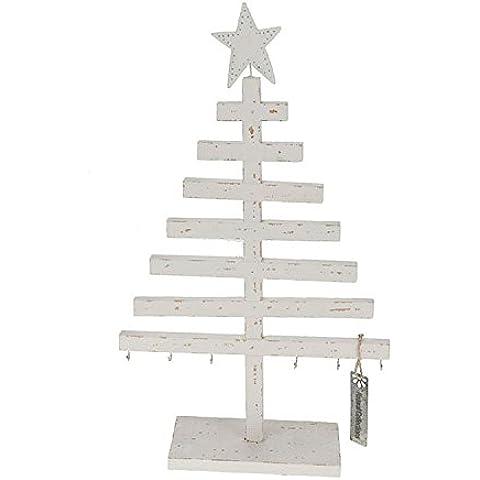 LuminalPark - Árbol de Navidad en madera blanca, 39 cm, Decoración de Navidad