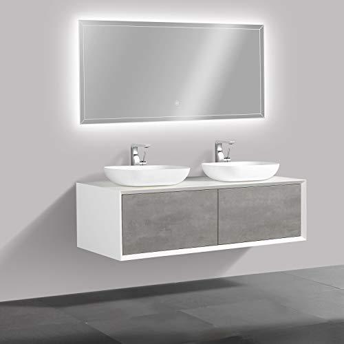 #Badmöbel Fiona 1400 Weiß matt – Front in Beton-Optik – Spiegel:Ohne Spiegel, Zusätzl. Blende für Ablaufgarnitur:ohne zusätzl. Blende, Auswahl Waschbecken:Ohne Waschbecken#