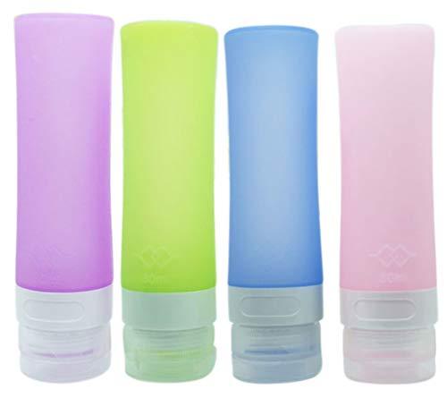 Songlela bottiglie da viaggio in silicone, approvate dalla tsa, comprimibili e riempibili contenitori accessorio da viaggio aereo con borsa portatile per shampoo, balsamo, lozione, 4 pezzi, 90ml #11