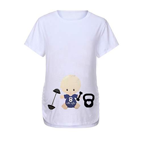 Umstandsmode Damen Kurzarm O-Ausschnitt Shirt mit Schneemann Muster Süße Weihnachten Umstandsshirt T-Shirt Oberteil Piebo Damen Schwangere Maternity Top ()