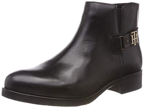 Tommy Hilfiger Damen TH Buckle Leather Bootie Stiefeletten, Schwarz (Black 990), 39 EU