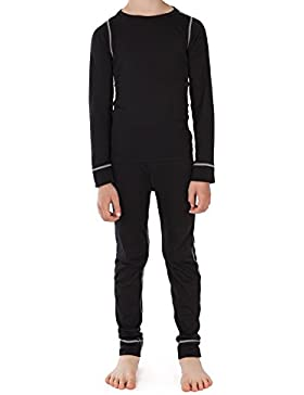 CFLEX - Set de ropa térmica y para esquí para niños - Camiseta y pantalón - Tecnología POLARDY - Calidad de celodoro...