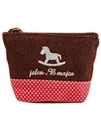 Porte monnaie tissu coloré en coton (Marron/Rouge)