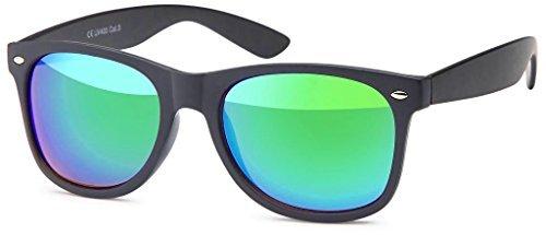 Hatstar Vintage Sonnenbrille Retro Nerd Wayfarer Brille Unisex für Damen und Herren (12 | Schwarz Matt - Grün Verspiegelt)