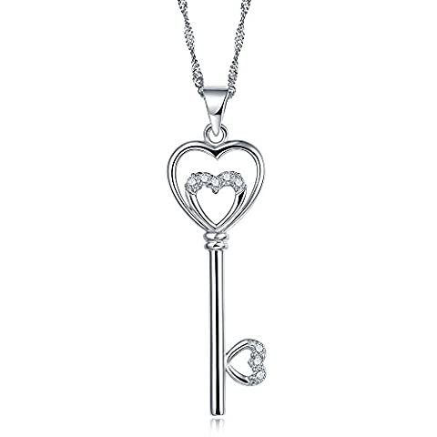 Kingwin Sterling Silver 925 Chain Necklaces with Heart-shaped Key design Rhodium Plated