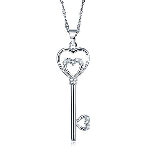 kingwin Sterling Silber 925 Kette Halsketten mit Herz Schlüssel Design rhodiniert