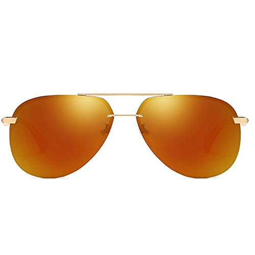 Trend Golden/Orange Lens Golden Frame Herren-Sonnenbrille New Retro Polarized Metal Material UV400 Sonnenbrille Brille (Farbe : Orange)