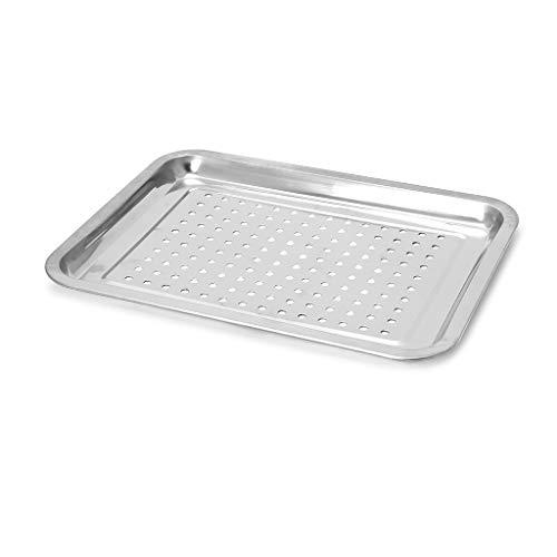 JOYKK Edelstahl undicht Tablett rechteckige Platte Barbecue Gril Fisch BBQ Food Container - 02# Silber -
