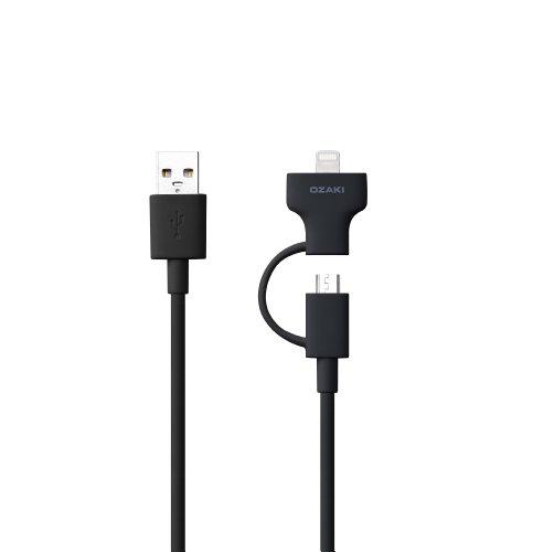 Ozaki OT225BK O!Tool Lightning und Micro-USB Lade-/Synchronisationskabel (1 Meter) für z.B. Apple iPhone X/8/5/5C/5S/SE/6/6S/6 Plus/6S Plus/iPad Pro/TV Remote, Samsung Galaxy S6/S6 Edge/S6 Edge Plus/Note 5, HTC One M9, Micro-USB Geräte schwarz -