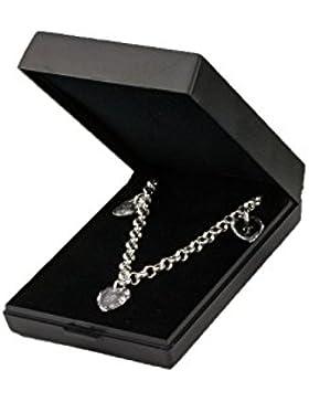 925 Sterling Silber Damen Armband mit SWAROVSKI ELEMENTS Herzen und Buchstabengravur