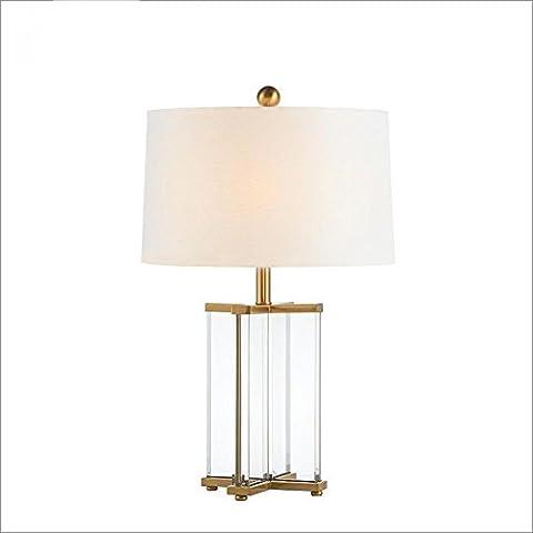 OOFWY E27 Tischlampe Moderne minimalistische Stil für Hotel Schlafzimmer Wohnzimmer Bedside Dekoration Tuch Lampenschirm Kristall revolvierende Tür Stil Schreibtisch Lampen Höhe 26.8inch